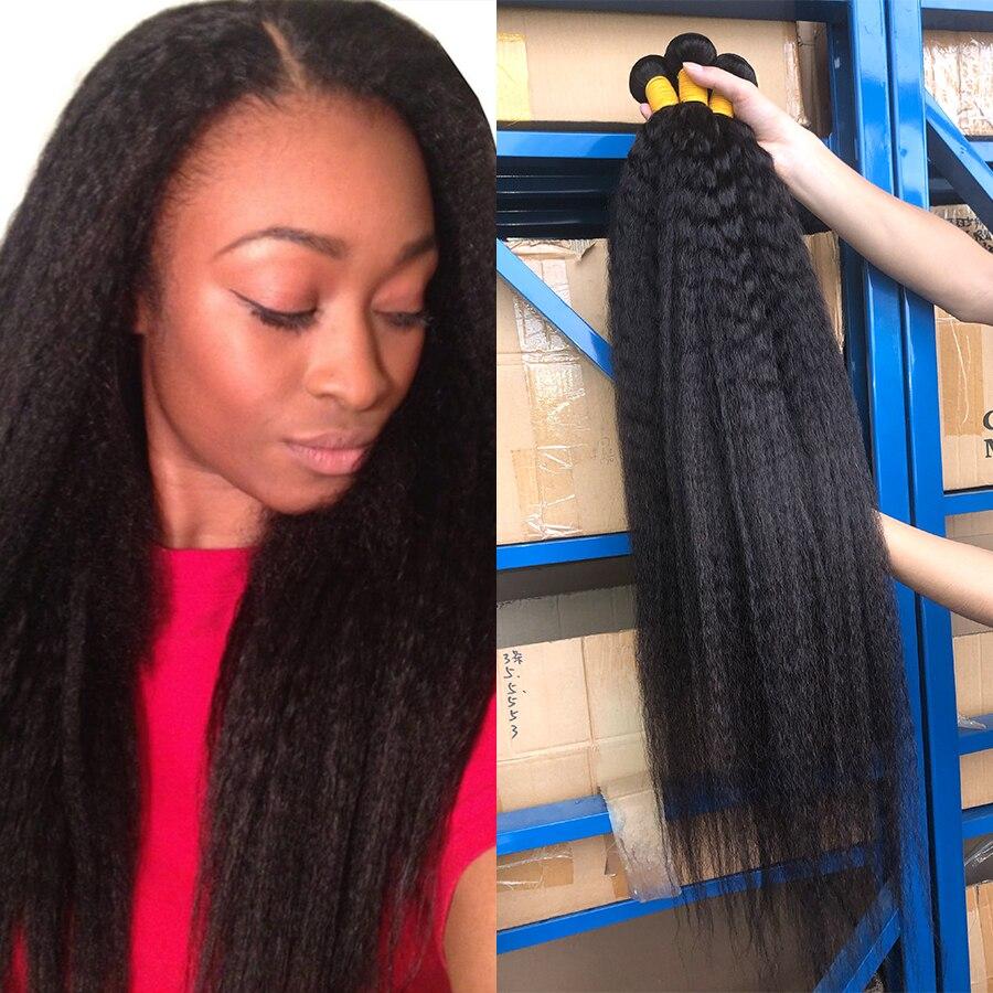 Queenlife 30 32 34 36 inch Kinky Straight Bundles Brazilian Hair Bundles Human Hair Yaki Straight 1/3/4 Bundles Remy Hair Weave